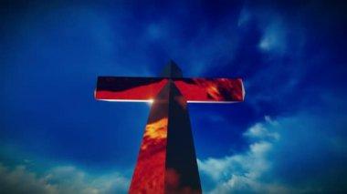 Christian Cross on a mountain — Vídeo de stock