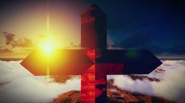 Christian Cross on a mountain — Stock Video