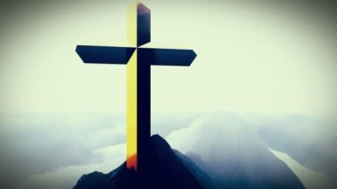 Christian Cross on a mountain — Stockvideo