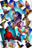 Buddha  onmany photographs — Stockfoto
