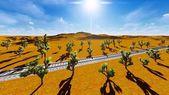 Joshua trees and railroad — Stock Photo