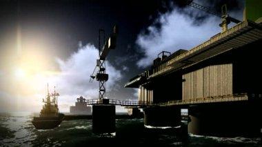 Oil rig  platform — Stock Video