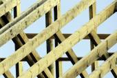 Wooden rafters on new house — Stock Photo