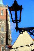 Gas lantern on Ostrow Tumski, Wroclaw in Poland — Stock Photo