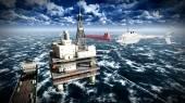 石油掘削プラットフォーム — ストック写真