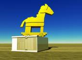 Trojan horse and computer — Stock Photo