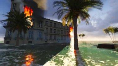 Tsunami devastating the city — Stock Video