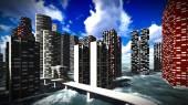 Tsunami devastating the city — Stock Photo