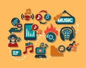 Color flat music icons set — Stock Vector