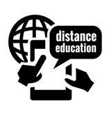 Black distance education icon — Stock Vector