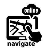 Black navigate icon — Stock Vector