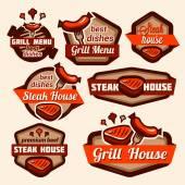 Grill logos set — Stock Photo