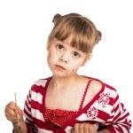 Little girl draws paints — Stock Photo #70144281