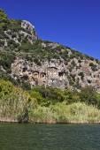 Dalyan rock tombs. — Zdjęcie stockowe