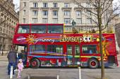 Hop on and off bus in Liverpool. — Stock Photo