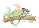 Cartoon chameleon on abstract background — Stock Vector