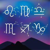 Zodiac constel ile gece dağ manzarası — Stok Vektör