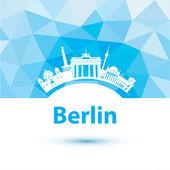 Silhouette of Berlin. City skyline on polygonal background — Stock Vector
