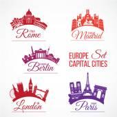 Biggest Europe capital cities — Stock Vector