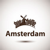 Silhouette of Amsterdam. City skyline. — Stock Vector