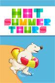 Funny cartoon web banner for travel agency with polar bear — Stock Vector