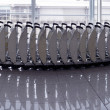 Trolleys luggage in a raw in airport. — Stock Photo #66479697