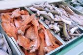 Frozen fish in the fish shop — Stock Photo