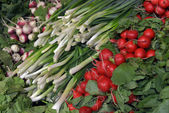 Herbs and vegetables in the supermarket — Stock Photo