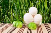 Chicken eggs and Brussels sprouts — Stock Photo