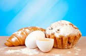 Eggs and fresh pastries — Stock Photo