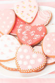 Heart cookies served on plate — Fotografia Stock