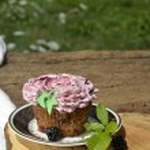 Organic blackberry fruit cupcake — Stock Photo #53377269