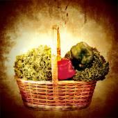 Basket organic vegetables vintage background — Stock Photo