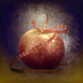 Red apple with a gift ribbon — Foto de Stock