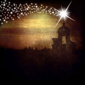 Belfry and Star of Bethlehem christmas card — Stock Photo