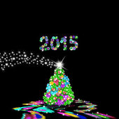 Christmas tree with flowers and hearts 2015 — Foto de Stock