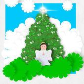 Angel Christmas greeting card — Stock Photo