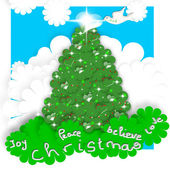 Child Christmas Cards, tree and peace dove — Stock Photo