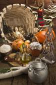 Baby Jesus in rustic kitchen Christmas background — Stock Photo