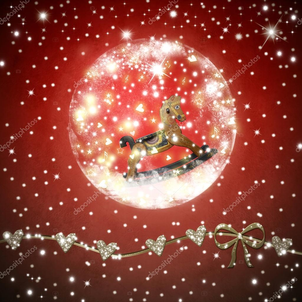 christmas time greeting card a vintage inside shiny ball on a red background with stars u foto de risia