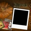 Christmas greeting card,one empty instant photo frame — Stock Photo #60298869