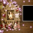 Baby Jesus picture and vintage empty photo frame  — Stock Photo #60299185