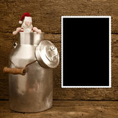 Funny Santa and milk can Christmas frame — ストック写真