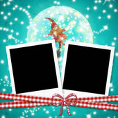 Christmas cards photo frames cute elf — Stock Photo