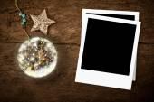 Christmas photo frame greeting card — Stock Photo