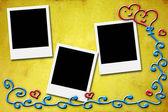 愛好家のための 3 つの空白のインスタント フォト フレーム — ストック写真