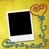 One blank instant photo frame, love card — Stock Photo