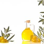 Cruet with extra olive oil — Stock Photo