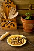 Galician mussels marinated and bread — Stock Photo