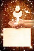 Communions cards, chalice in the hands — Stock Photo